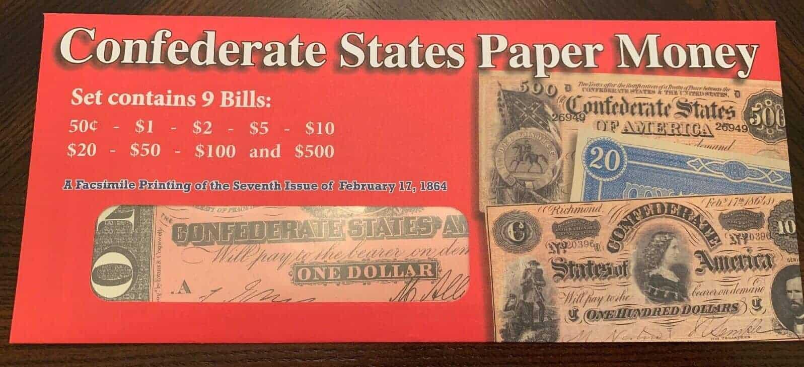 Civil War Currency: Confederate States - Nine Replica Facsimile Bills
