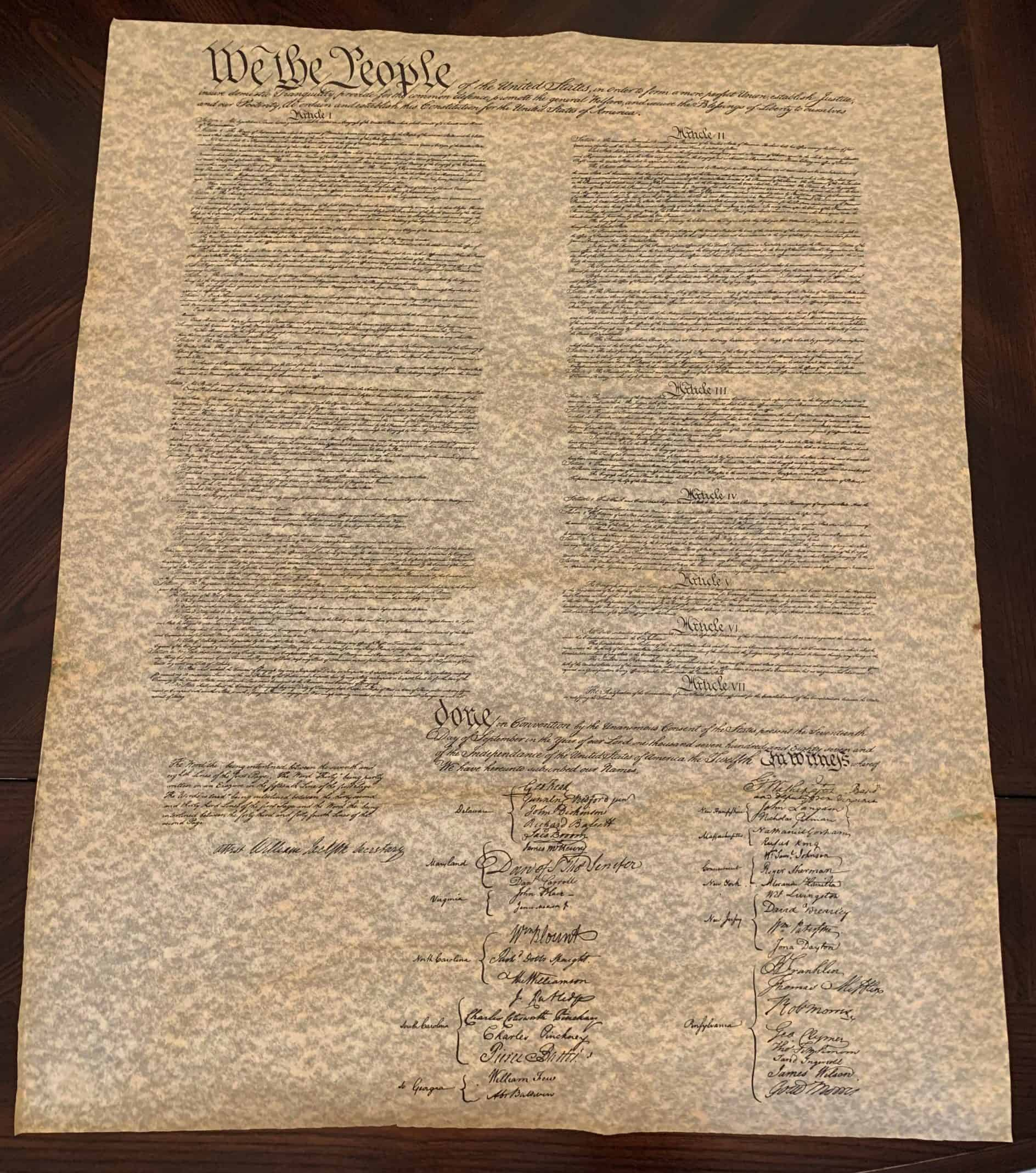 Constitution Parchment Replica Poster - 23W x 29H