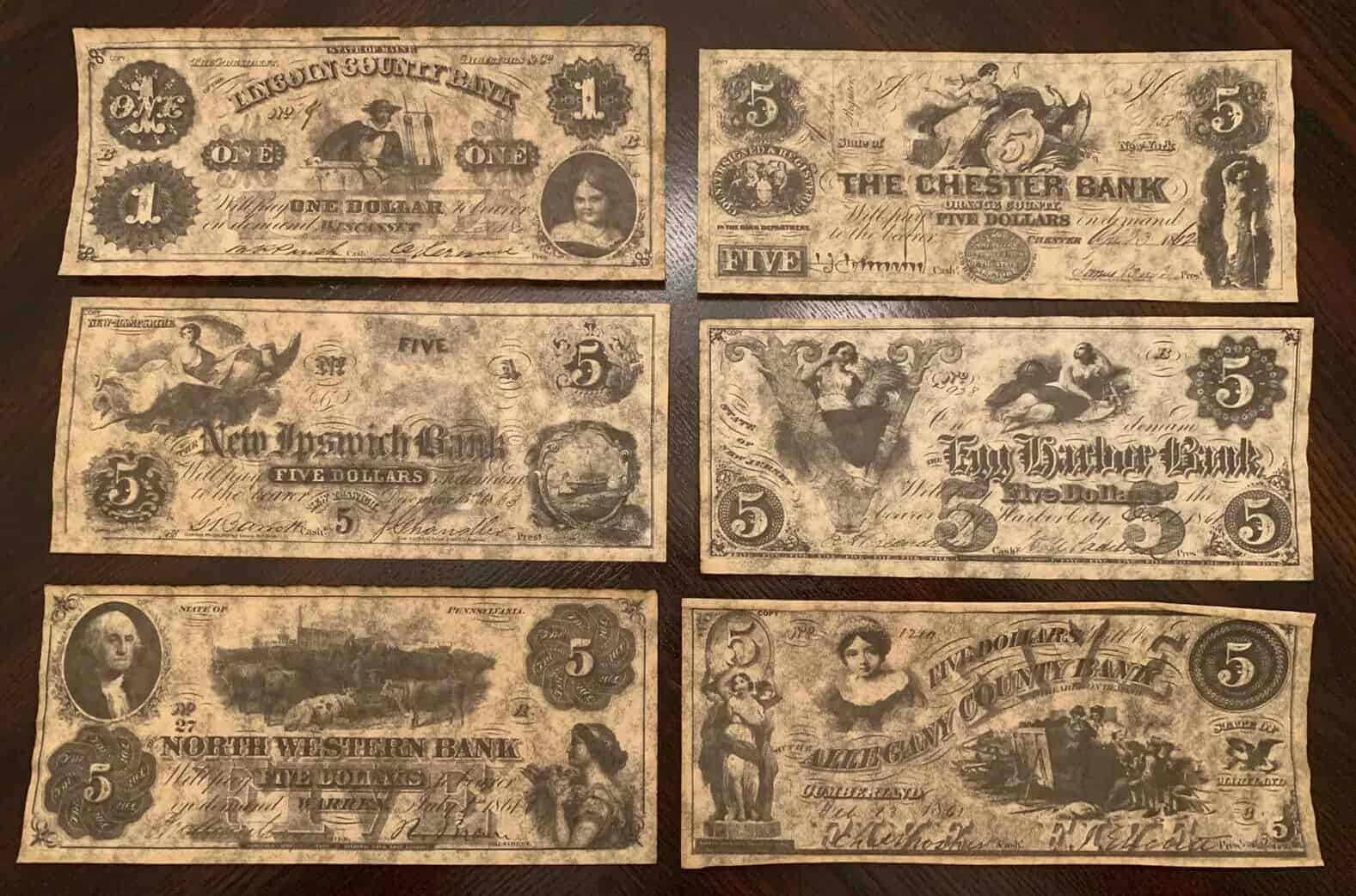 Union States Currency Parchment Replicas