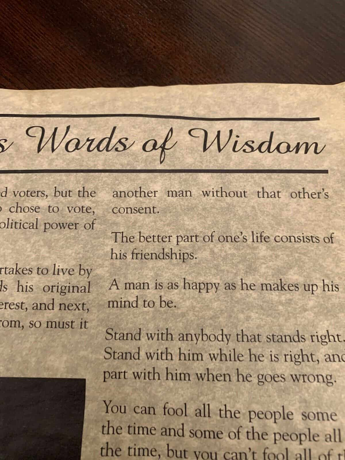 Abraham Lincoln Words of Wisdom - Rolled Parchment
