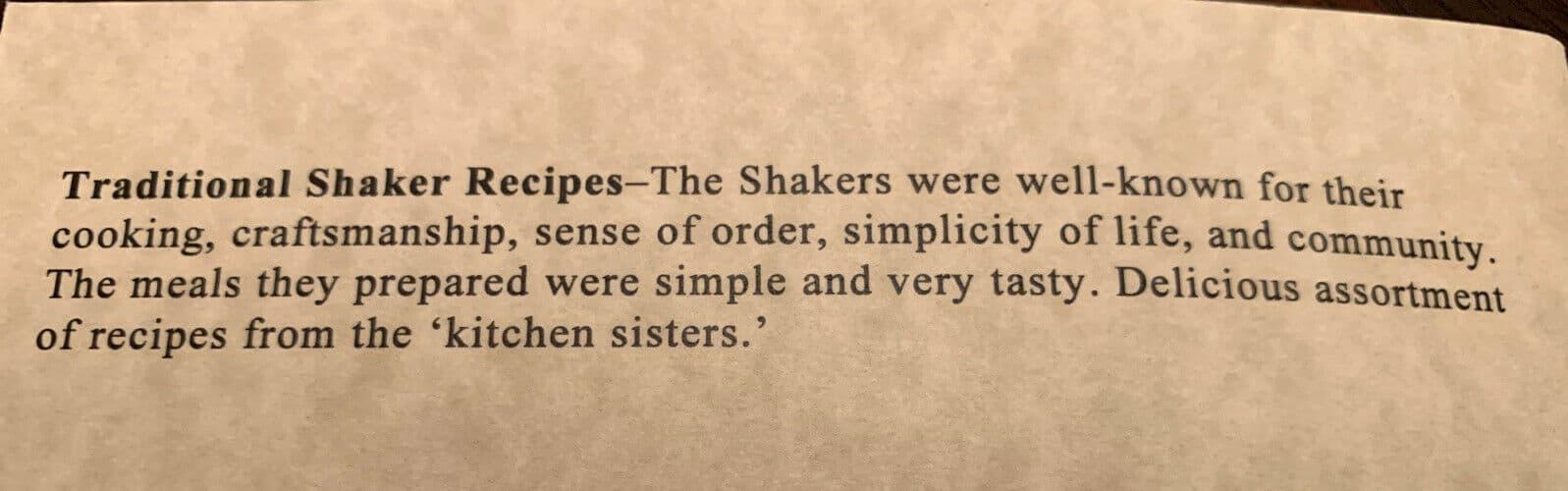 Traditional Shaker Recipes