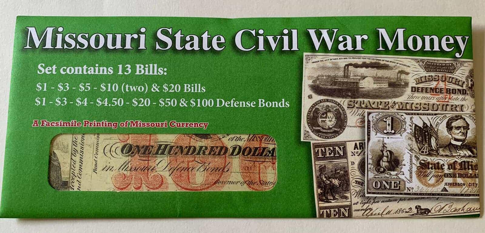 Missouri State Civil War Currency - replicas