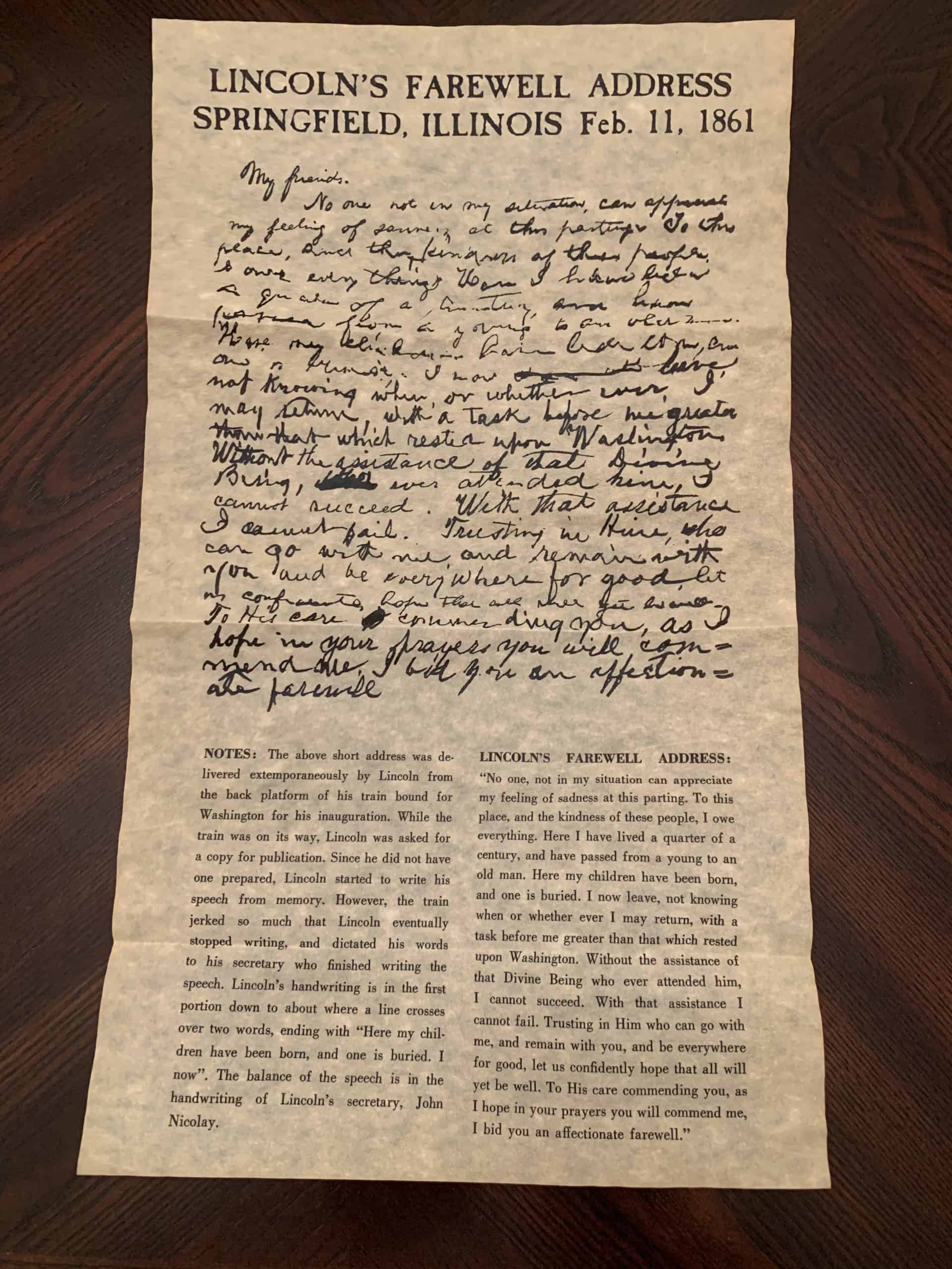 Lincoln's Farewell Address At Springfield, Illinois 1861 - Parchment replica