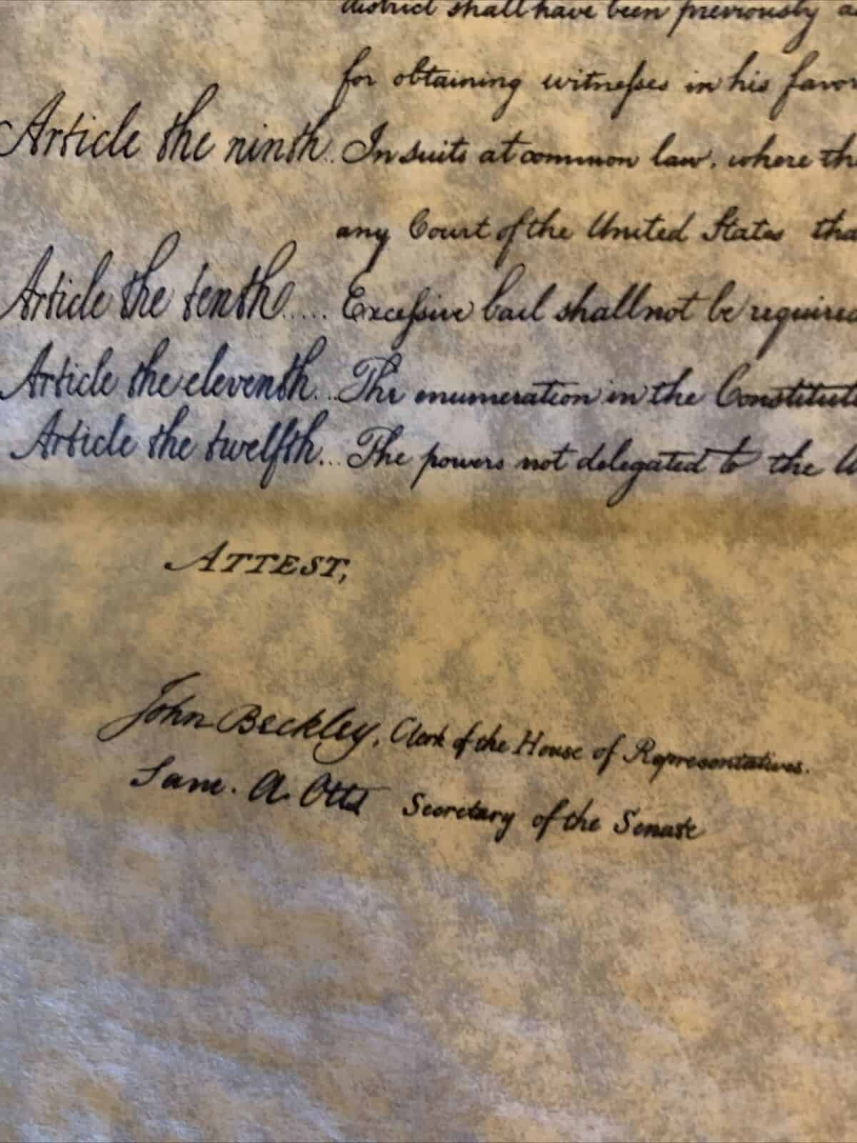 The United States Bill of Rights Parchment Replica