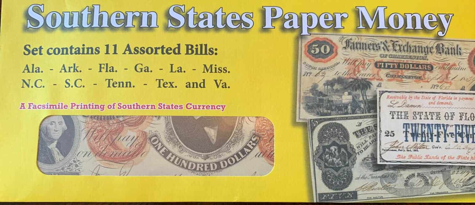 Southern States Civil War Replica Currency