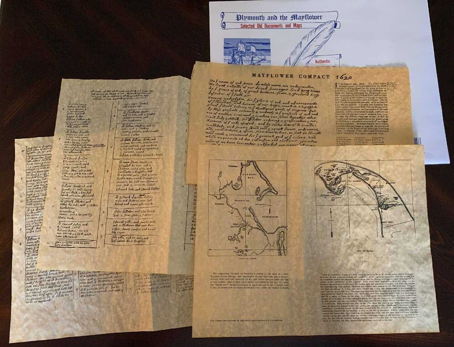 Plymouth and The Mayflower Old Documents and Maps
