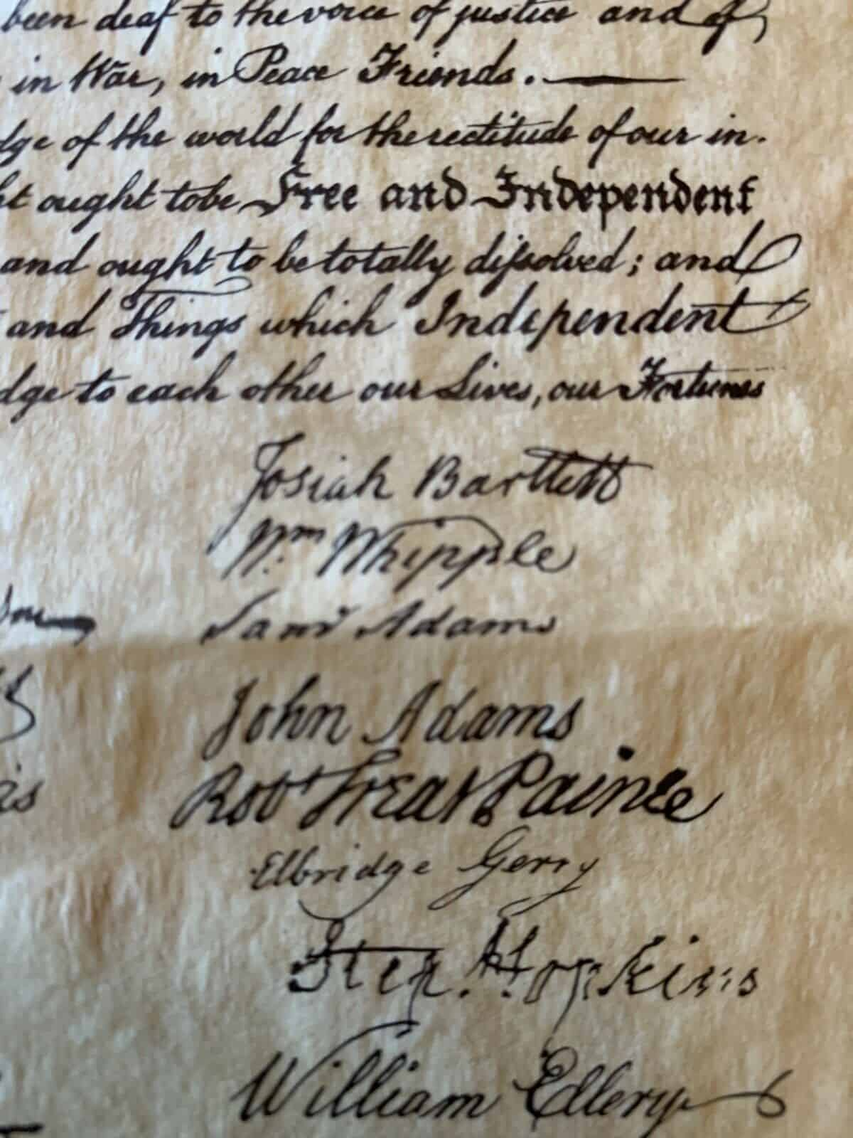 Declaration of Independence - parchment Replica
