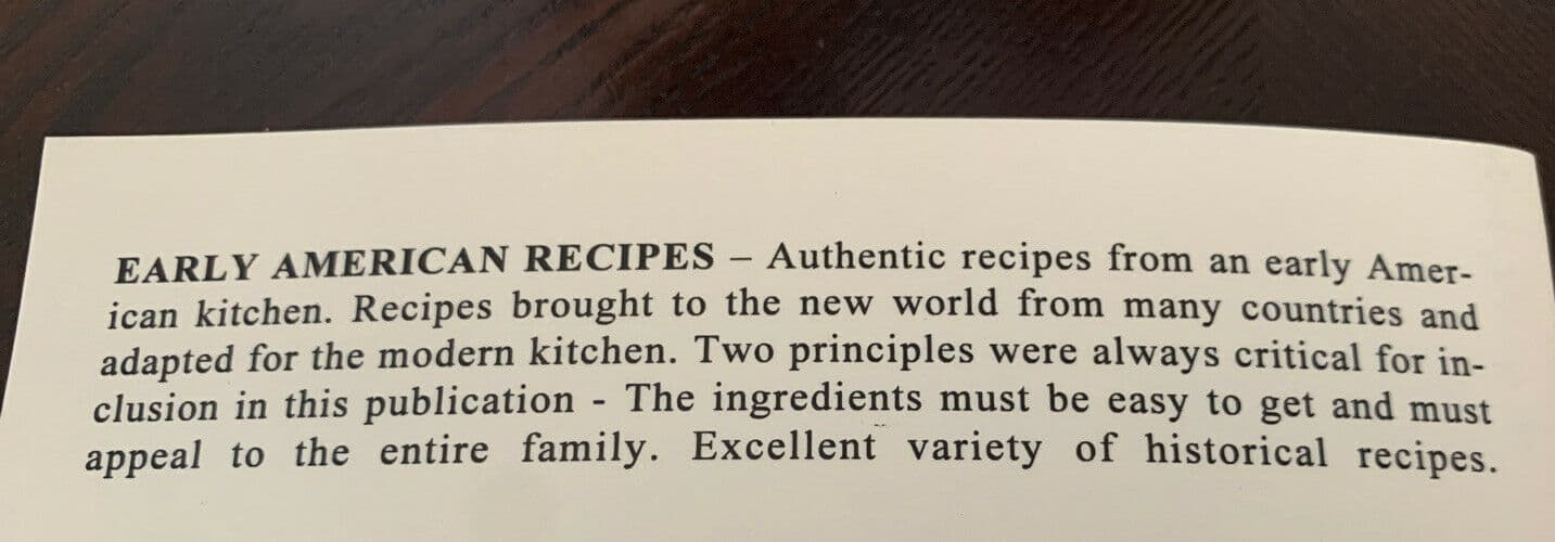 Old-Fashioned Early American Recipes