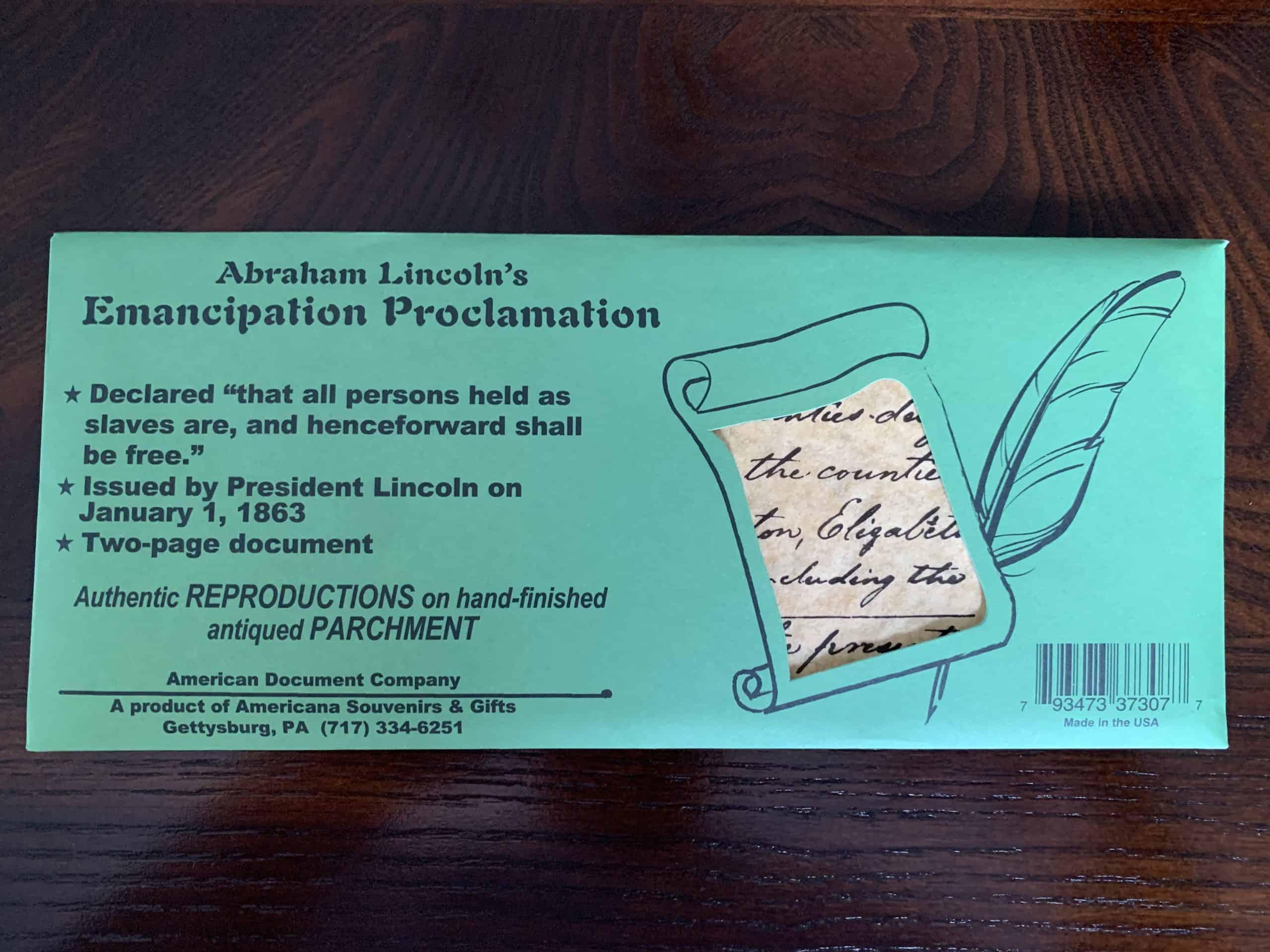 Abraham Lincoln's Emancipation Proclamation - Parchment Replica