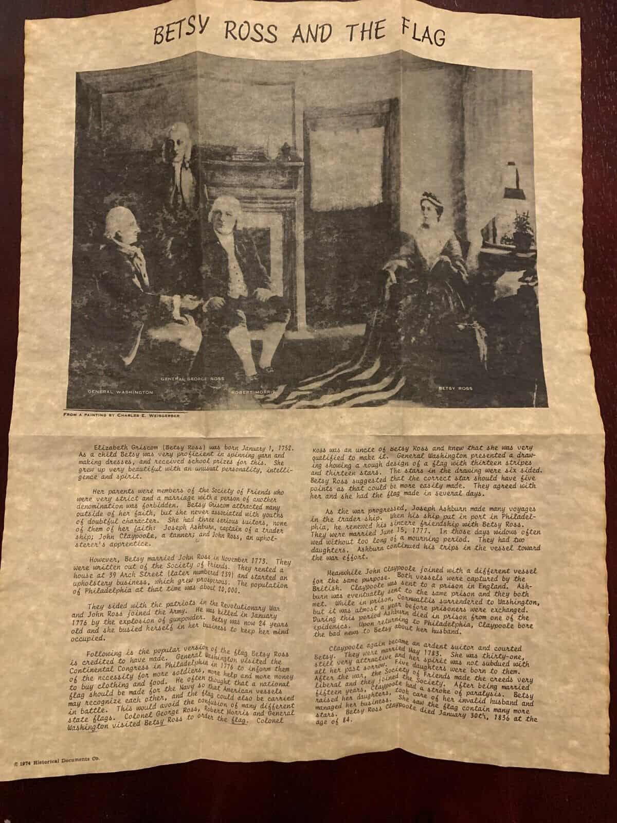 Betsy Ross And The Flag Parchment