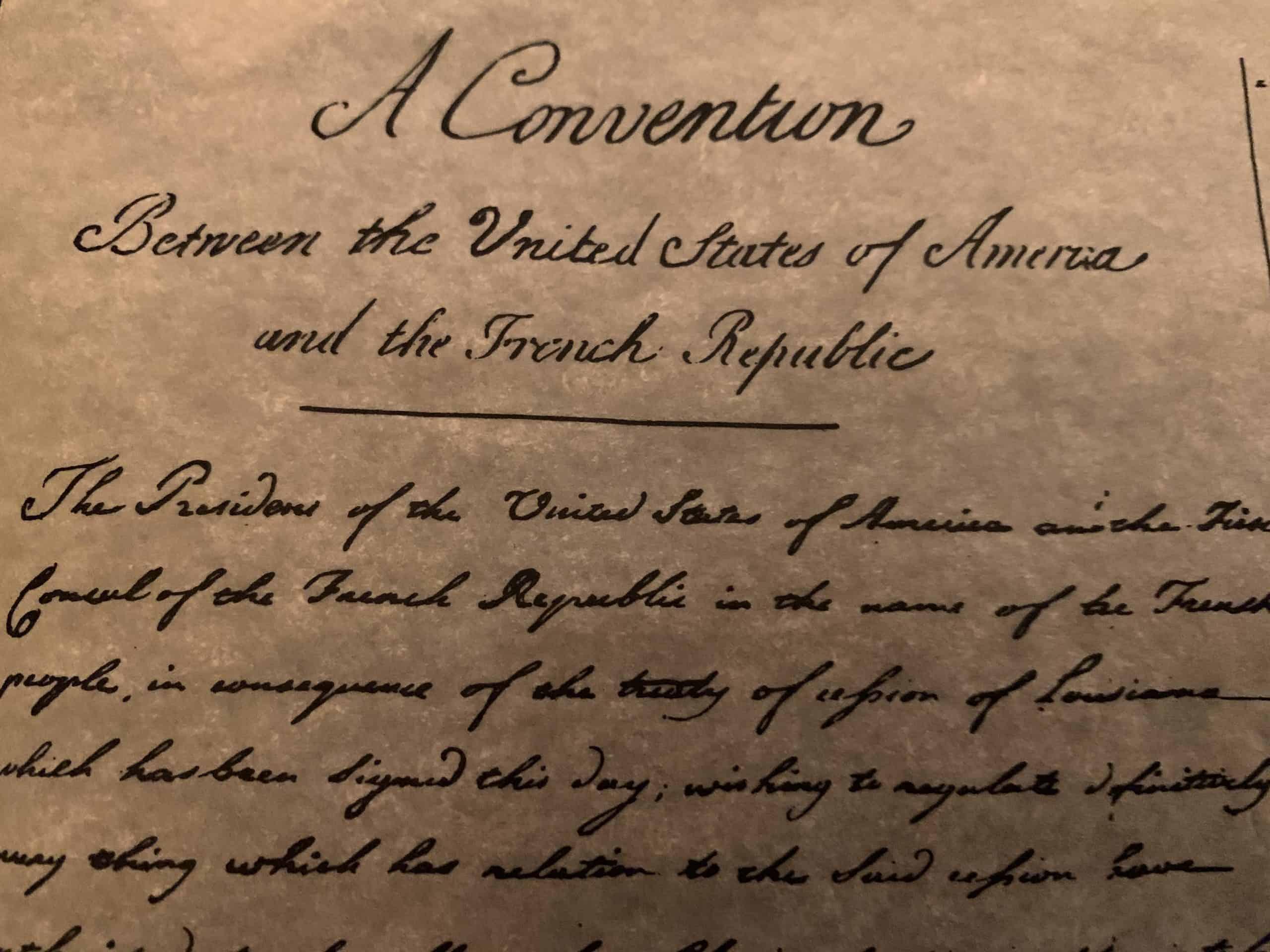 Louisiana Purchase parchment replica in a tube