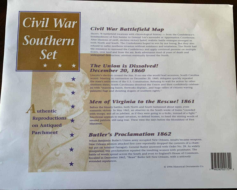 Civil War Document Set - Southern Edition Large Parchment replicas