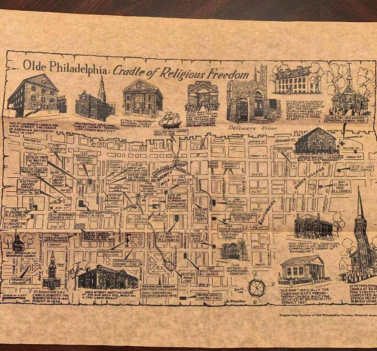 Olde Philadelphia: Historic Church Map Replica Document