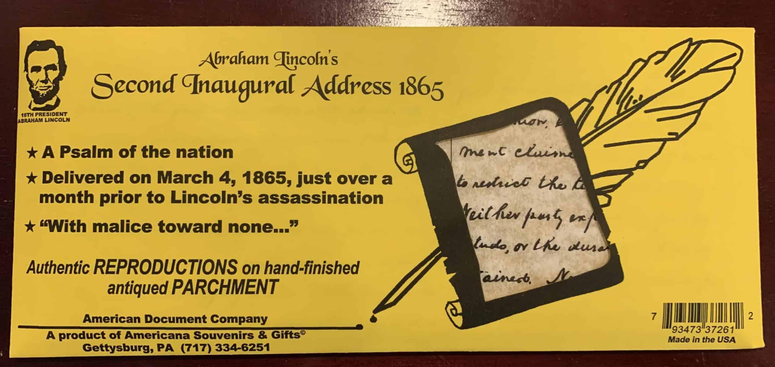 Abraham Lincoln's Second Inaugural Address Parchment replica